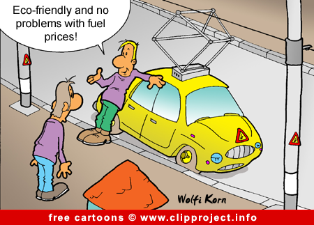 Eco-friendly car cartoon for free
