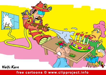 Firefighter and Birthday Cake cartoon free