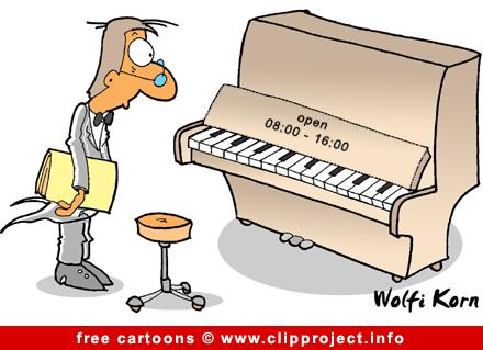 Piano cartoon - Music cartoons free