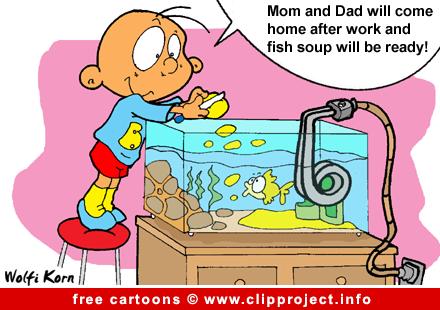 Child and aquarium cartoon free