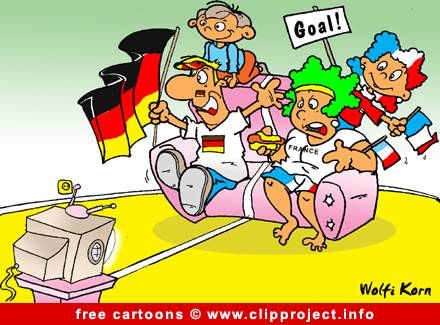 Free Cartoon - Family watching Football