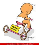 Driving school cartoon - Baby and bike