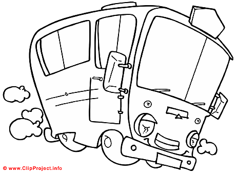 Bus coloring sheet - Free painting book
