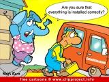 Elephant and satellite dish cartoon image free