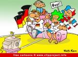 Free Cartoon - Family watching Football